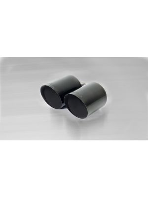 Stainless steel tail pipe set 2 tail pipes Ø 115 mm angled, Black Chrome, with adjustable spherical clamp connection