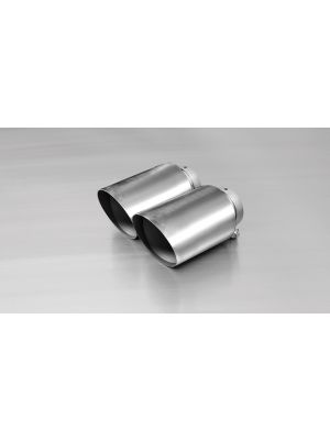 Stainless steel tail pipe set 2 tail pipes Ø 115 mm angled, polished, with adjustable spherical clamp connection