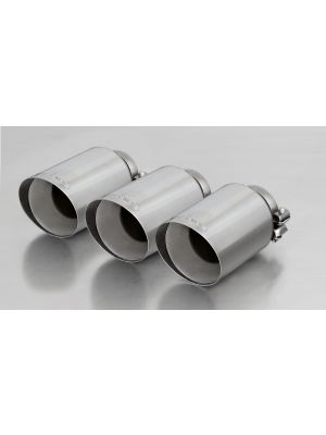 Stainless steel tail pipe set consisting of 3 tail pipes Ø 102 mm angled, straight cut, chromed, with adjustable spherical clamp connection