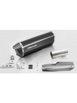 BLACK HAWK, slip on (muffler with connecting tube) incl. CARBON heat protecting shield for BMW R 1200 R/RS, stainless steel black, 66mm, incl. EC homologation