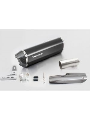 BLACK HAWK, slip on (muffler and connecting tube) incl. CARBON heat protecting shield, stainless steel black, EEC, 66 mm