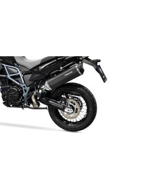 BLACK HAWK, slip on (muffler) for BMW F 700 GS and F 800 GS Adventure, stainless steel black, incl. EC homologation