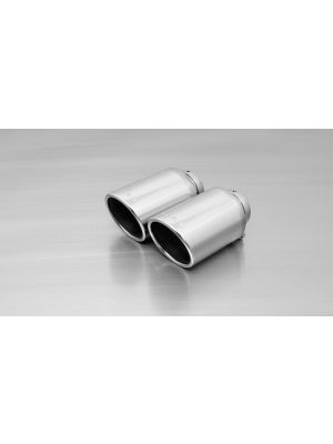 tail pipe set L/R each 1 tail pipe Ø 102 mm angled, chromed, with adjustable spherical clamp connection