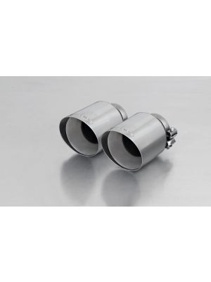 tail pipe set consisting of 2 tail pipes Ø 102 mm angled, straight cut, chromed, with adjustable spherical clamp connection