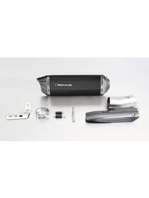 BLACK HAWK, slip on (muffler and connecting tube) incl. CARBON heat protecting shield for BMW R 1200 RT, stainless steel black, 66 mm, incl. EC homologation