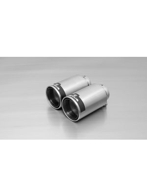 tail pipe set L/R each 1 tail pipe Ø 98 mm Street Race, polished, with adjustable spherical clamp connection